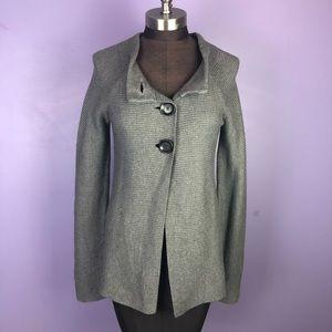 Adrienne Vittadini Grey Ribbed Cardigan Sweater
